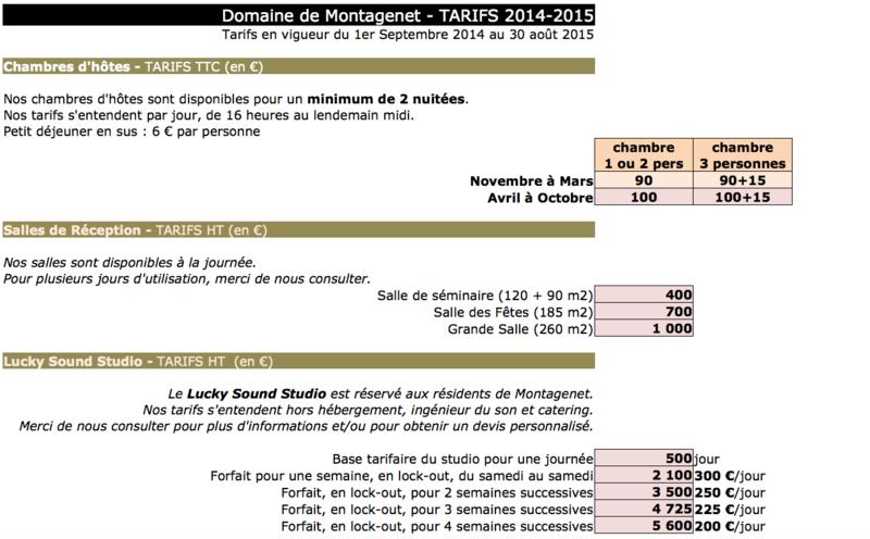 Tarifs 2014-2015 -2